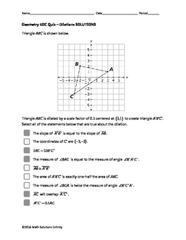 Geometry EOC Quiz - Dilations BUNDLE