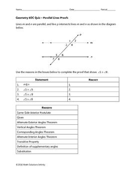 Geometry EOC Quiz - Parallel Lines Proofs BUNDLE