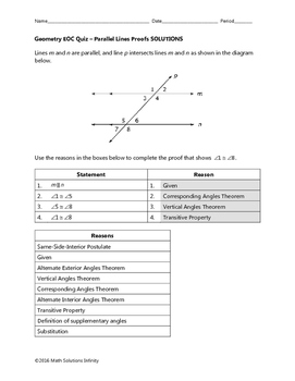 Geometry EOC Quiz - Parallel Lines Proofs BUNDLE