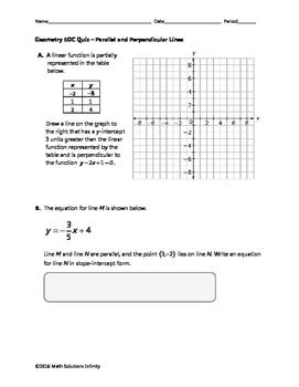 Geometry EOC Quiz - Parallel and Perpendicular Lines BUNDLE