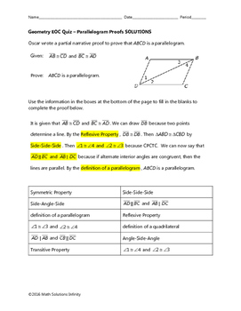 Geometry EOC Quiz - Parallelogram Proofs BUNDLE