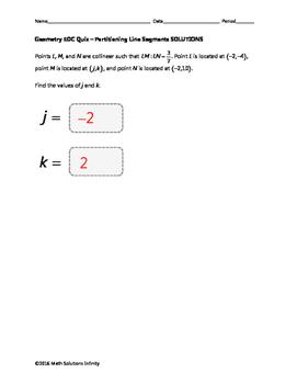 Geometry EOC Quiz - Partitioning Line Segments BUNDLE