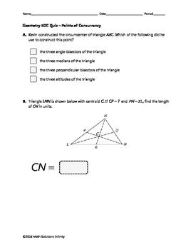 Geometry EOC Quiz - Points of Concurrency BUNDLE