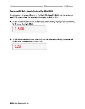 Geometry EOC Quiz - Population Densities BUNDLE
