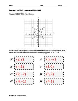 Geometry EOC Quiz - Rotations BUNDLE