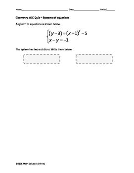 Geometry EOC Quiz - Systems of Equations BUNDLE