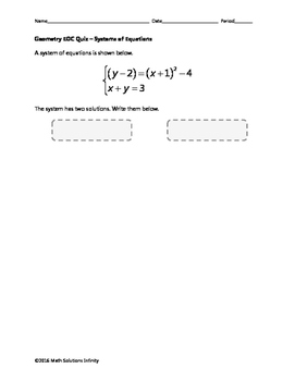 Geometry EOC Quiz - Systems of Equations BUNDLE