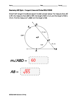Geometry EOC Quiz - Tangent Lines and Circles BUNDLE