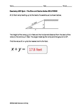 Geometry EOC Quiz - The Sine and Cosine Ratios BUNDLE