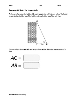 Geometry EOC Quiz - The Tangent Ratio BUNDLE