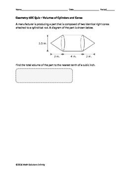 Geometry EOC Quiz - Volumes of Cylinders and Cones BUNDLE