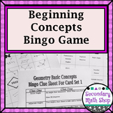 Beginning Concepts Bingo Game