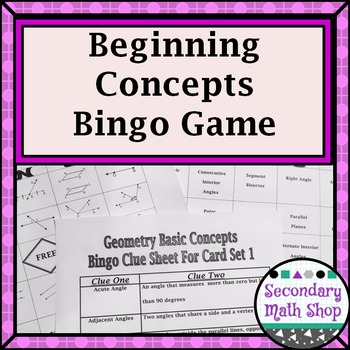 Beginning Concepts Bingo Game