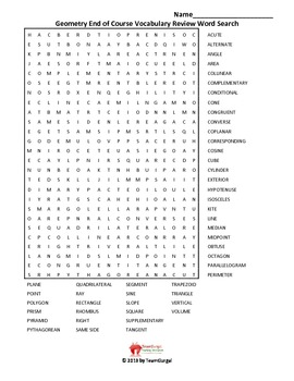 Geometry End of Course Vocabulary Word Search Review