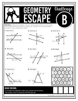 Geometry End of Year EOC Review - Escape Room Activity