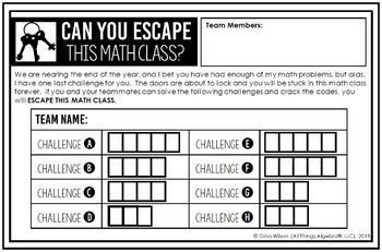 Geometry End of Year EOC Review - Escape Room Activity by ...