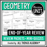 Geometry EOC End of Year Review Packets + Editable Quizzes