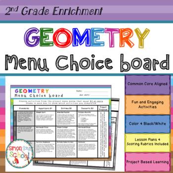 2nd Grade Geometry Choice Board – Enrichment Math Menu