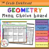7th Grade Geometry Choice Board – Enrichment Math Menu