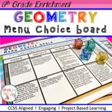6th Grade Geometry Choice Board – Enrichment Math Menu