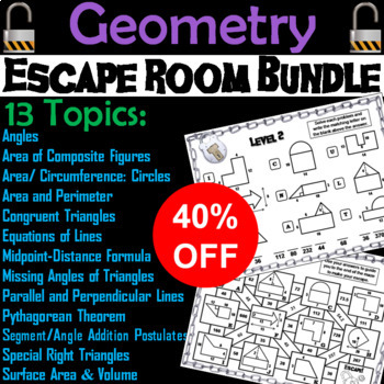 Geometry Escape Room Math (Volume, Surface Area ...