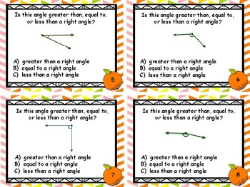 Geometry - Estimating and Comparing Angles to 90 degrees Task Cards