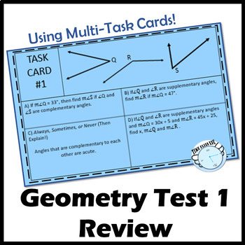 Geometry Exam 1 Review - Using Task Cards
