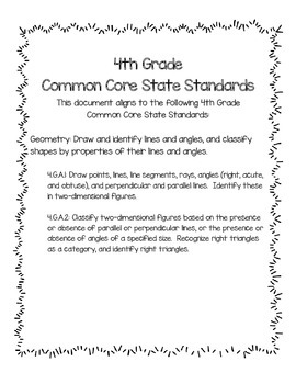 Geometry Exit Slips: 4.G.A.1 & 4.G.A.2