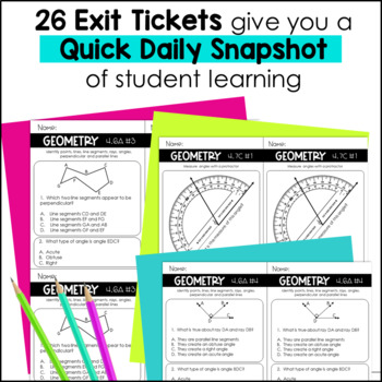 Geometry Exit Slips 4th Grade TEKS by Marvel Math