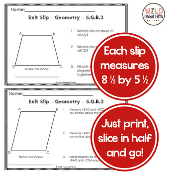 Geometry Exit Slips (Coordinate Planes, Attributes, Classification) - 5th Grade