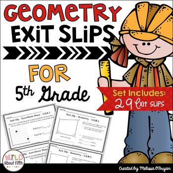 Geometry Exit Slips (Coordinate Planes, Attributes, Classi