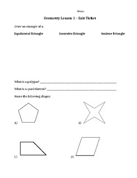 Geometry Exit Ticket/Quiz/Check In (triangle, polygon, shapes)