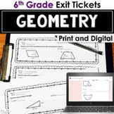 Geometry Exit Tickets - Area, Surface Area, Volume
