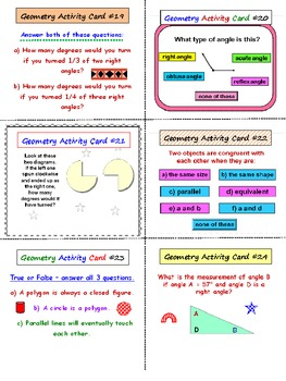 Geometry FREE Activity Cards PREVIEW