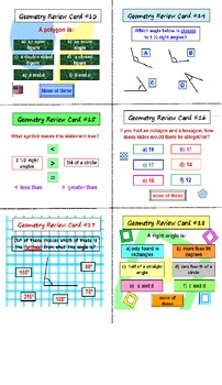 Geometry FREE Review Cards PREVIEW