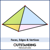 Faces, Edges and Vertices (Properties of 3D shapes) + worksheet