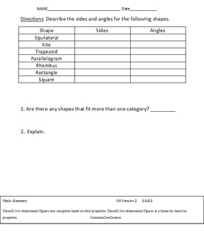 Geometry - Fifth Grade Common Core Math Worksheets - All Standards 5.G.A