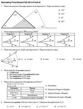 Geometry Final Exam Fall 2013; multiple-choice; 2 versions
