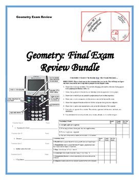 Geometry Final Exam Review Bundle