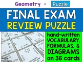 Geometry Final Exam Review Puzzle - 36 Cards with Formulas and Diagrams