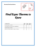 Geometry Final Exam Review: Theorems to Know