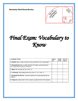 Geometry Final Exam Review: Vocabulary to Know
