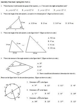 Geometry Final Exam Spring ... by Peter Jonnard | Teachers Pay ...