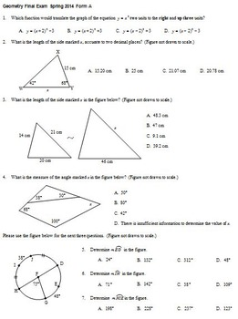 Geometry Final Exam Spring 2014; multiple-choice; 2 versions; with key