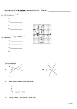 Geometry Final Exam/ Study Guide