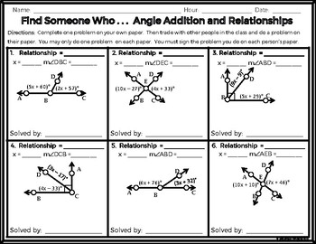 Geometry - Find Someone Who . . . Angle Addition and Relationships