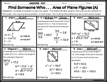 Geometry - Find Someone Who . . . Area of Plane Figures (Two Levels!)