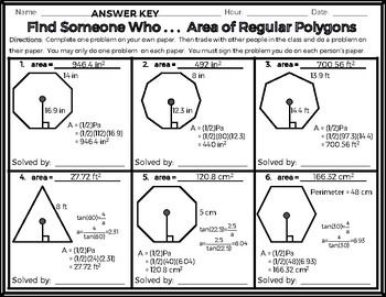 Geometry - Find Someone Who . . . Area of Regular Polygons