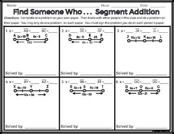 Geometry - Find Someone Who . . . Segment Addition