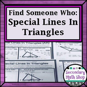 Geometry Find Someone Who Special Lines In Triangles Tpt